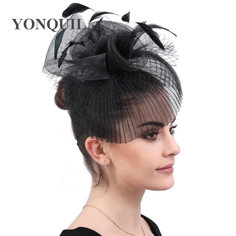 Bride Fashion Black Tulle Hats Feathers Handmade Flowers Headwear Noble Bridal Wedding Hats Women Party Dinner Fanscinators