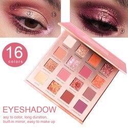 Juego de sombra de ojos duradera para mujer, resistente al agua, 16 colores, 24g, mate, moda, belleza y salud