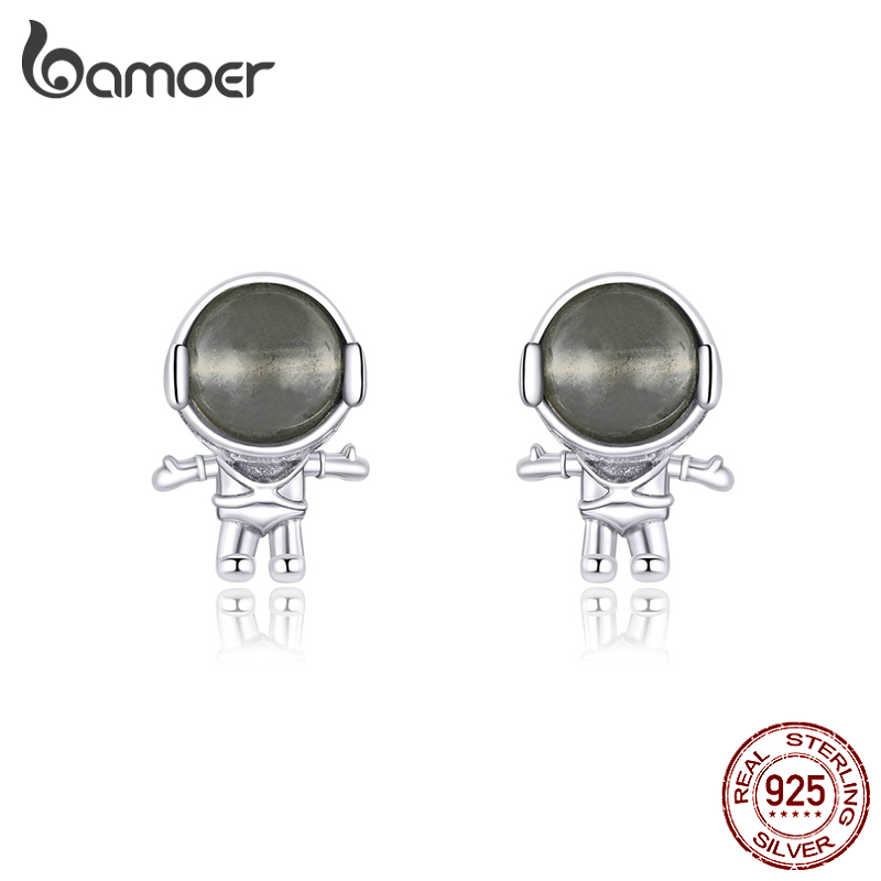 Bamoer Moon Stone Astronaut Stud Earrings For Women 925 Sterling Silver Ear Pins Jewelry 2020  New Design Brincos SCE871