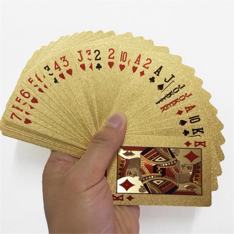 24K золотые игральные карты Пластиковые Покер игры палуба фольга Pokers пакет волшебные карты водонепроницаемый подарок коллекция азартные иг...