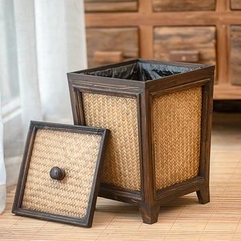 Thailand Solid Wood Creativity Bamboo Weaving Toilet Tuba Wastepaper Basket Household Kitchen Living Room Decoration Trash Bring