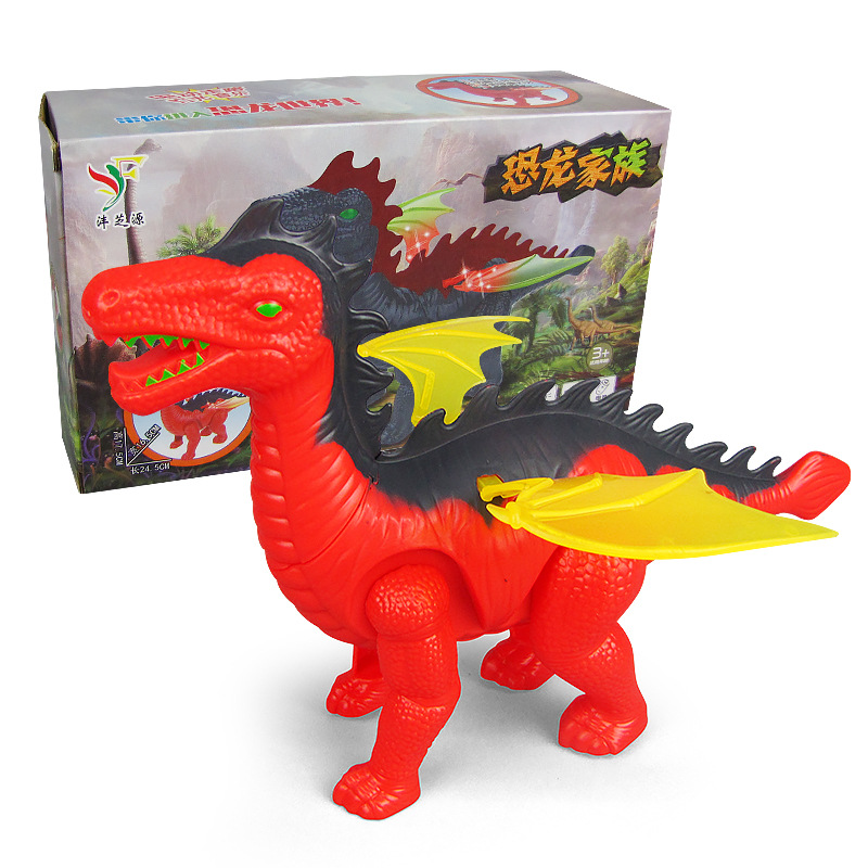 New Style Children Electric Dinosaur Toy Soft Light Automatic Walking Sound Pterosaur Night Market Stall Hot Selling