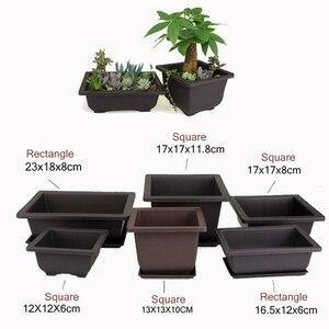 Image 3 - Planter bonsai Flower branch Pot Imitation Plastic Balcony Rectangle Bonsai Bowl pots Basin Nursery plastic Gardon Supply