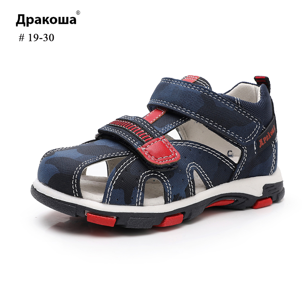 Apakowa Summer Sandals Camouflage Hook&Loop 3 Colors Arched Boys Sandals Hole Breathable Sweat For Kids Footwear
