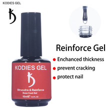 KODIES GEL profesjonalna struktura paznokcie żelowe wzmocnienie UV gumowa podstawa płaszcz podkład długotrwały gruby Soak Off Gellak dla Nailart