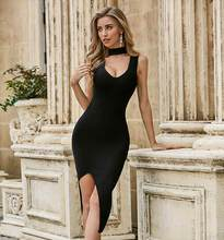 Solide Nude Sommer Mode Sexy O Neck Split Schwarz Bodycon Frauen Verband Kleid 2020 Elegante Abend Party Kleid Vestido(China)