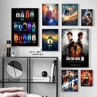 Pintura en lienzo de Doctor who para decoración del hogar, impresiones artísticas de pared, póster de acuarela de estilo nórdico para sala de estar