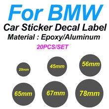 20 pces para a decoração do carro de bmw 29mm 45mm 56mm 65mm 67mm 78mm tampa da roda do carro etiqueta da direção decalque emblema logotipo do carro