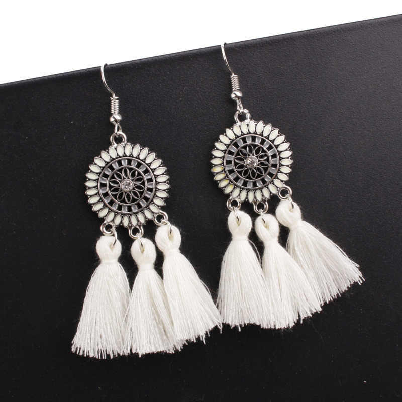Handmade Statement Tassel Earrings for Women Vintage Round Long Drop Earrings Wedding Party Bridal Fringed party Jewelry Gift