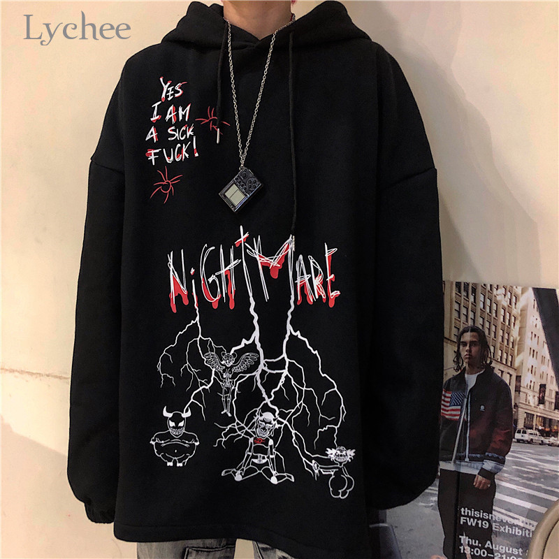 Lychee Harajuku Loose Casual Female Hoodies Pullovers Graffiti Devil Letter Women Hooded Sweatshirt Autumn Lady Sweatshirts Tops