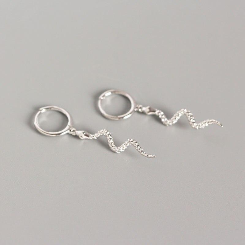 WomenS Punk Style Animal Snake Earring 100/% 925 Sterling Silver Snakelike Pendant Stud Earrings For Women