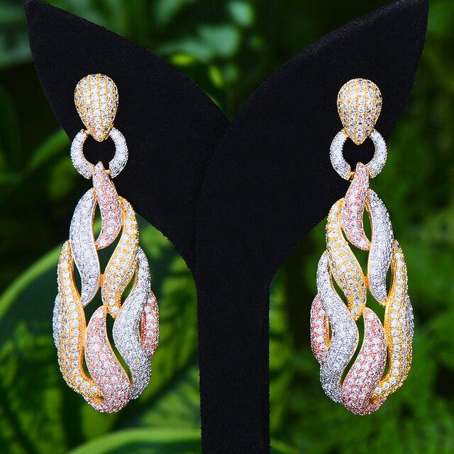 GODKI słynny Micky Candy Charms Trendy kobiety kolczyki Cubic cyrkon spadek kolczyki dla kobiet akcesoria imprezowe ślubne