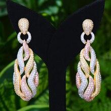 GODKI מפורסם מיקי סוכריות קסמי טרנדי נשים עגילי מעוקב זירקון טיפת עגיל לנשים מסיבת חתונת אבזרים