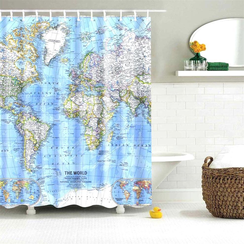 tecido mapa do mundo cortina de chuveiro