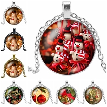 2019 New Christmas Gift Glass Cabochon Pendant Necklace New Year Santa Claus Gift Jewelry Necklace for Children fashion christmas gold jewelry set santa claus necklace bracelet earring ring jewelry sets gift for christmas day 2019 new