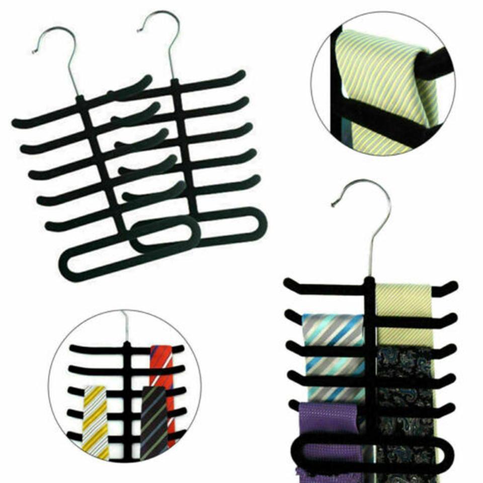 Velvet Fishbone Neck Tie Hanger Belts Hangers Rack Shawl Scarf Closet Holders