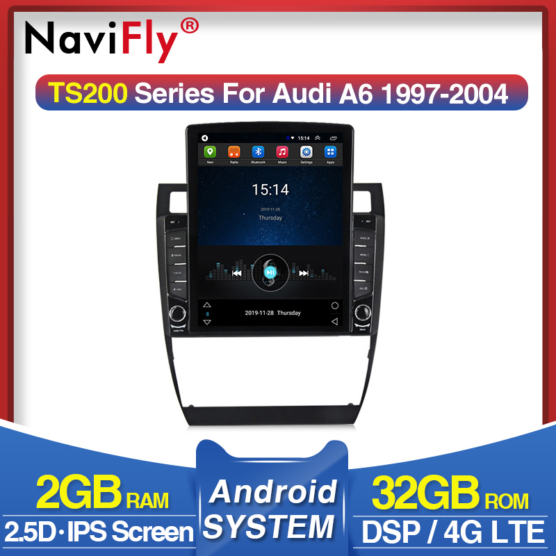Navifly Tesla style For Audi A6 C5 1997-2004 S6 2 1999-2004 RS6 1 Navigation gps Car Radio Multimedia Video Player Android image