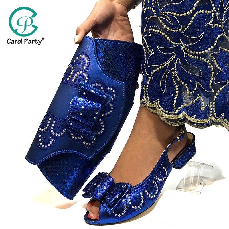 Blue Color Shoe And Bag Set New 2019 Women Shoes And Bag Set African Wedding Low Heel Shoes Italian Shoes With Matching Bags Set