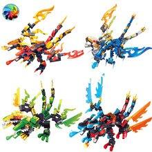 Ninja dragão cavaleiro 2 cabeças trovão espadachim modelo blocos de construção kai jay zane figuras brinquedos tijolos presente para crianças menino