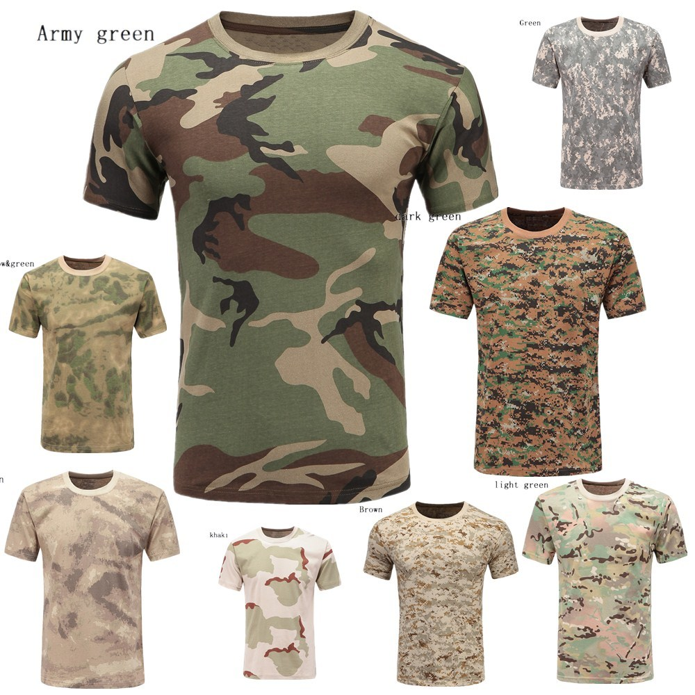 9 Colors 100% Cotton Men T-Shirts Short Sleeve Camouflage Military Outdoor Casual T-Shirt Printed Man T-Shirt Quality Tops Tees