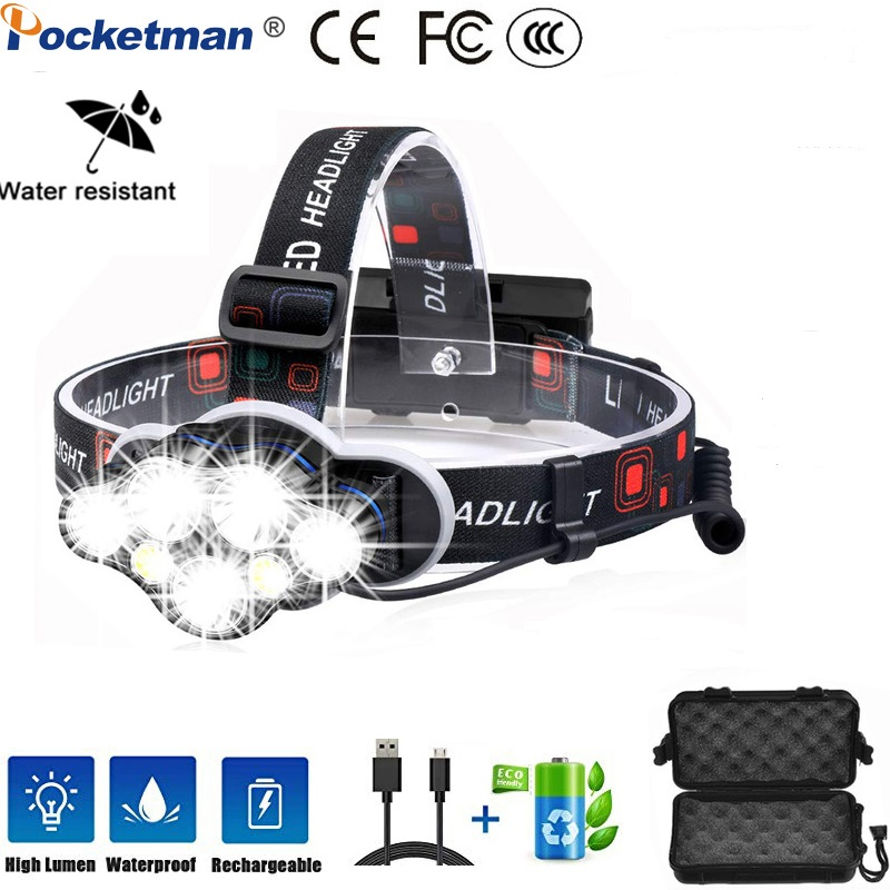 Powerful Headlight 8000 Lumen And Super Bright 7 LED Headlight White Red Light USB Rechargeable Waterproof Headlight 8 Modes