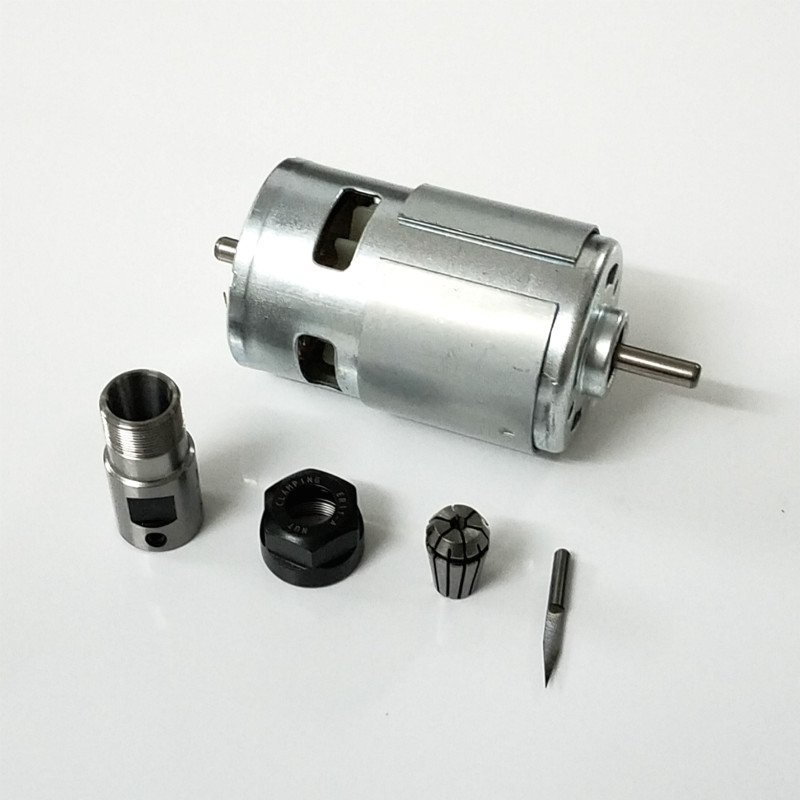 775 DC Motor 12-36V Ball Bearing Spindle Motor with ER11 Extension Rod Carving Knife for CNC Router Machine 1610/ 2417/ 3018