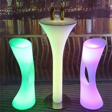 D60*H110cm Rechargeable LED Illuminated cocktail table Lighted up Bar Table plastic coffee table Indoor Or Outdoor use