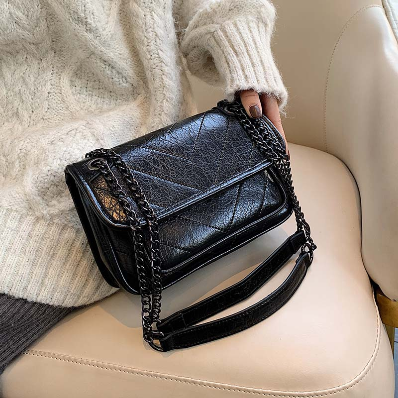 Solid Color PU Leather Crossbody Bags For Women 2020 Chain Small Shoulder Messenger Bag Female Handbags And Purses