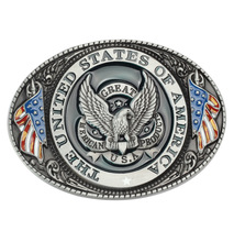 Eagle/Vulture American flag Pattern Buckle Handmade homemade belt accessories knight waistband DIY Western cowboy rock style