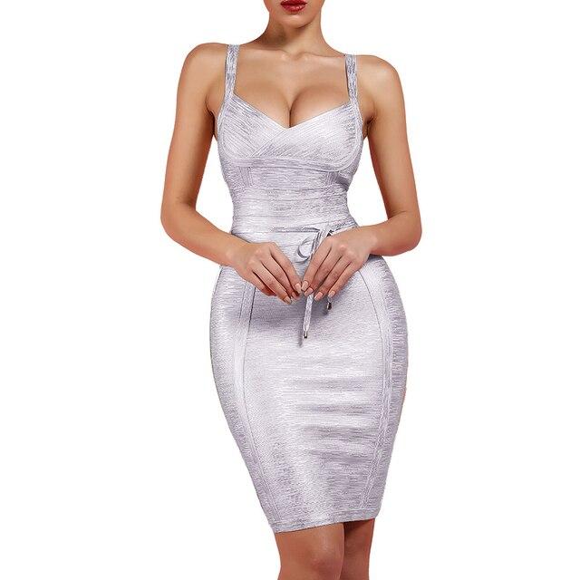 Ocstrade New 2019 Autumn Winter Women Tie Waist Metallic Sexy Bandage Dress Silver Bandage Dress Bodycon Club Party Dress