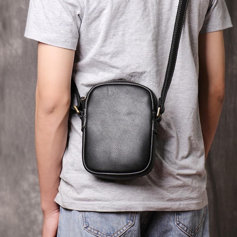 Nupugoo japão estilo pequeno bolsa de ombro para homens couro genuíno crossbody mensageiro marrom/preto mini saco quadrado sling para a juventude