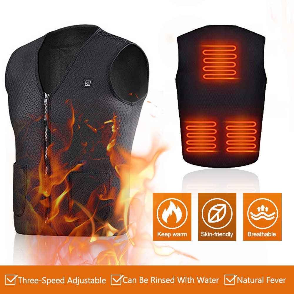 Men Women Outdoor USB Infrared Heating Vest Jacket Warm Winter Flexible Electric Thermal Clothing Waistcoat Fishing Hiking Golf