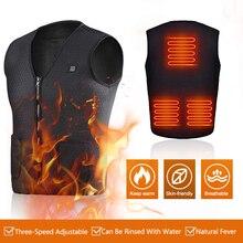Men Women Outdoor USB Infrared Heating Vest Jacket Warm Winter Flexible Electric Thermal Clothing Waistcoat Fishing Hiking Golf