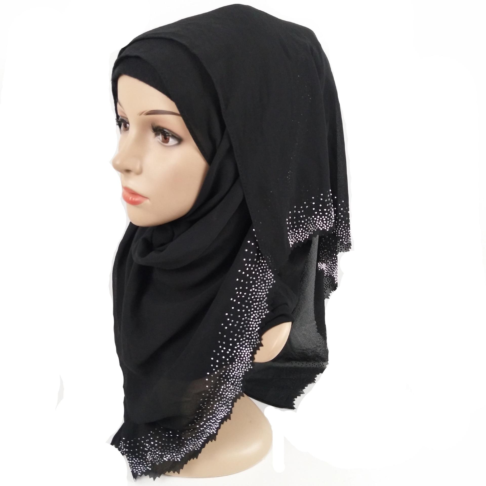 Image 3 - New Hollow Hot Diamond Pearl Chiffon Headscarf Muslim Hijab Long Towel Malaysian ShawlIslamic Clothing