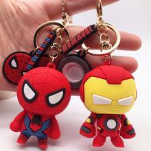 Marvel Avengers Cute Keychain Cartoon Iron Man Thor Hulk Captain America Car Keychain Kids Bag Pendant Keyring Friends Gift