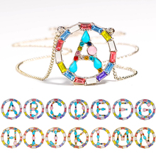 Sale Golden Silvery Initial Multicolor CZ Necklace Personalized Letter Name Jewelry For Women Accessories Gift