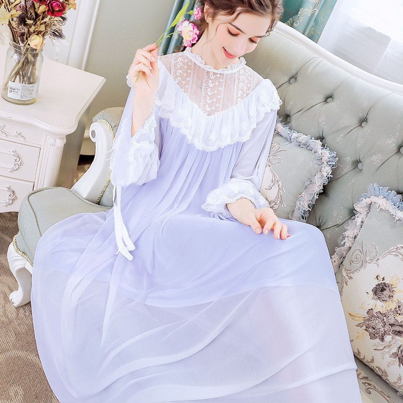 Womens Nightgown Sleepwear Lingere for Nighty Sweet Casual Sexy Fairy Princess Lace Sleep Wear Lady Loose Night Dress Plus Size