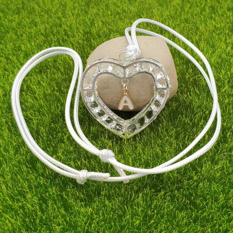 Valentine's Day Gift 26 Letters Heart Love A-Z Designs Silver White Sweater Pendant Necklace Enamel Adjustable Rope AG053-078