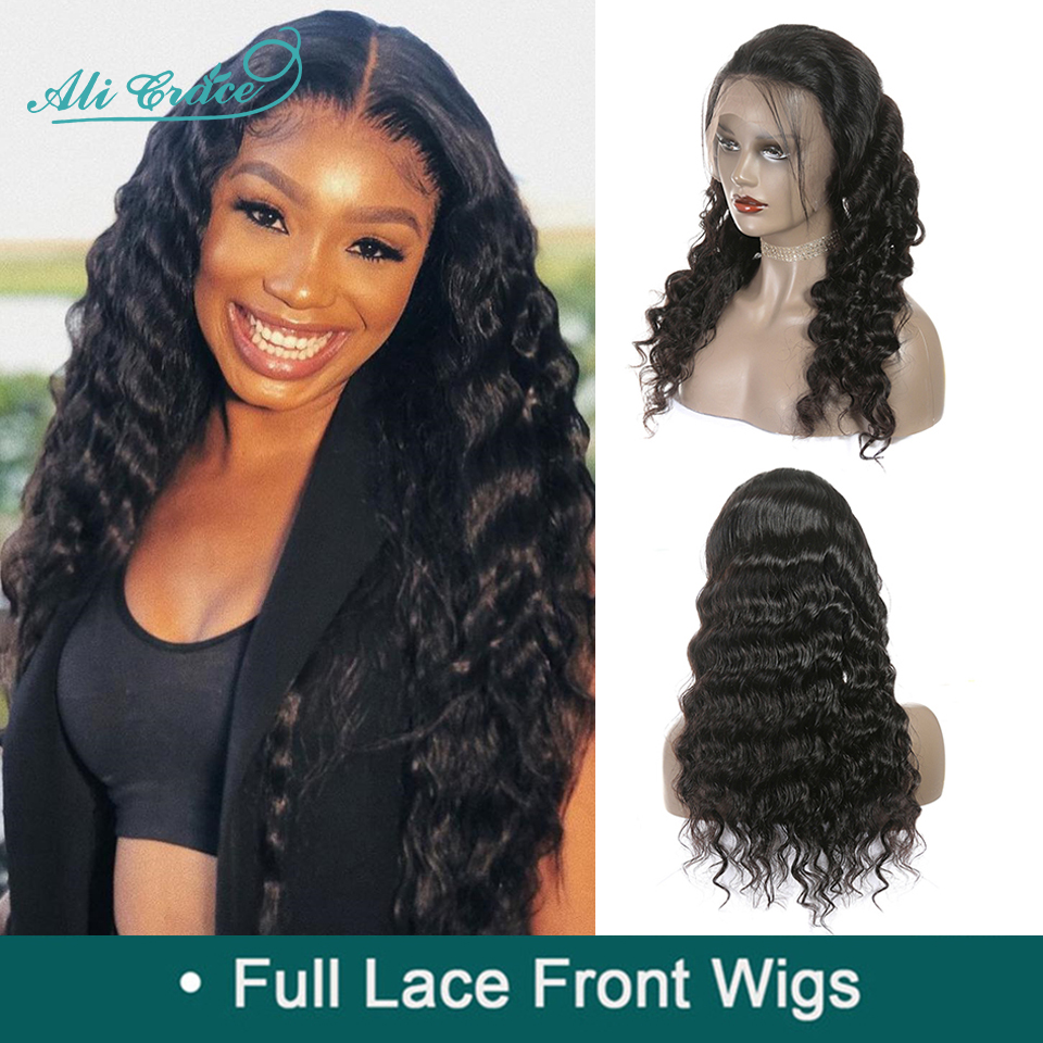 Wigs Grace-Hair Full-Lace Ali Malaysian with Loose-Wave Pre-Plucked 150%Density 130-%