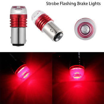 2PCS Red 1157 BAY15D P21/5W Strobe Flashing LED Projector Bulbs For Car Tail Brake Lights Auto Turn Signal Lamp Bulb image