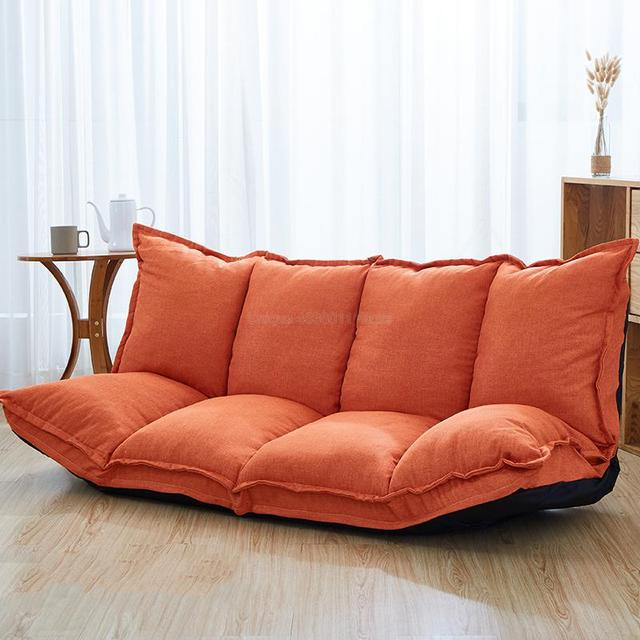 Linen Fabric Upholstery Adjustable Floor Sofa Bed Lounge Sofa Bed Floor Lazy Man Couch Living Room Furniture Video Gaming Sofa 5