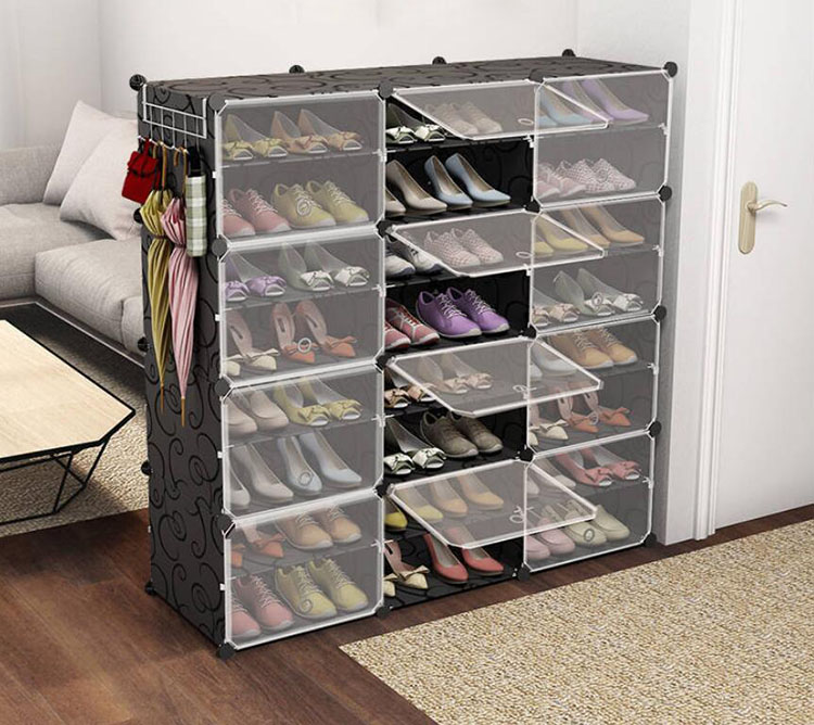 Shoe Box органайзер Sneakers Boots Storage Organizer Shelf Convertible Space Size Steel Frame Plastic Shoe Cabinet