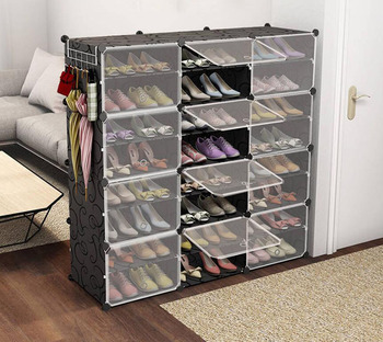 Shoe Box органайзер Sneakers Boots Storage Organizer Shelf Convertible Space Size Steel Frame Plastic Shoe Cabinet