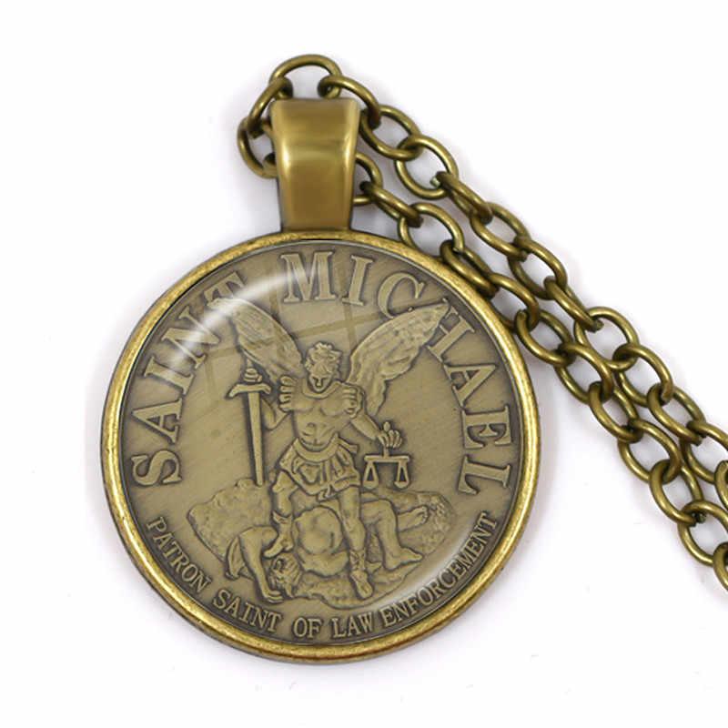 Nowych mężczyzna naszyjnik archanioł St. Michael ochrony Me Saint tarcza ochrony urok rosyjski prawosławny wisiorek – biżuteria dla święty prezent