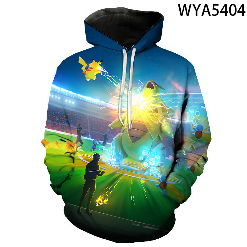 Men Women Children Fashion Casual Hoodies 3D Printed Sweatshirts Pullover Streetwear Games Pokemon Boy Girl Kids Casual Jacket 2