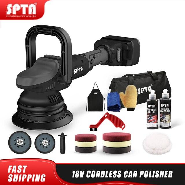 SPTA 18V Cordless Car Polisher 15mm Orbit 2000-4500rpm Variable Speed Polishing Machine With 2 4000Ahm Battery For Car Plishing 1
