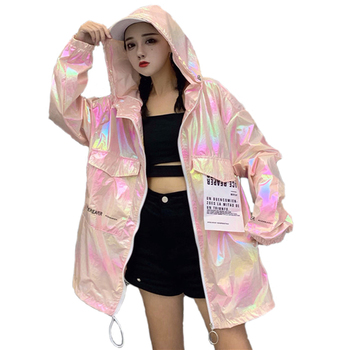 Windbreaker Hooded Silver Jacket Thin Summer Jackets Big Size Long Sleeve Coats loose Brilliant Jacket Women Casual Neon Jacket fashion skulls ghost devil jackets men women couple funny joker windbreaker windproof thin pocket hooded jacket