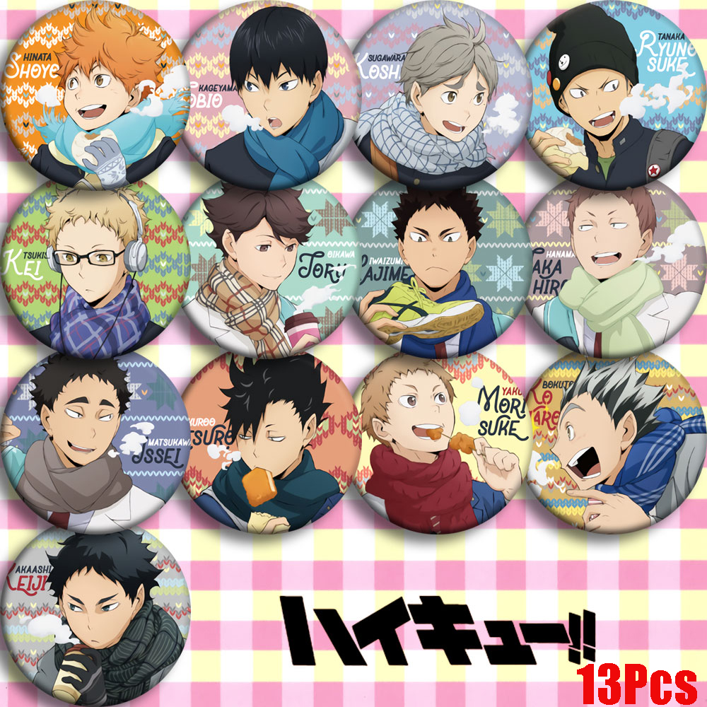 Japan Anime Haikyuu AOBHOHS JOBIO Cosplay Bedge Brooch Pins Collection Bags Badges For Backpacks Button Clothes Gift