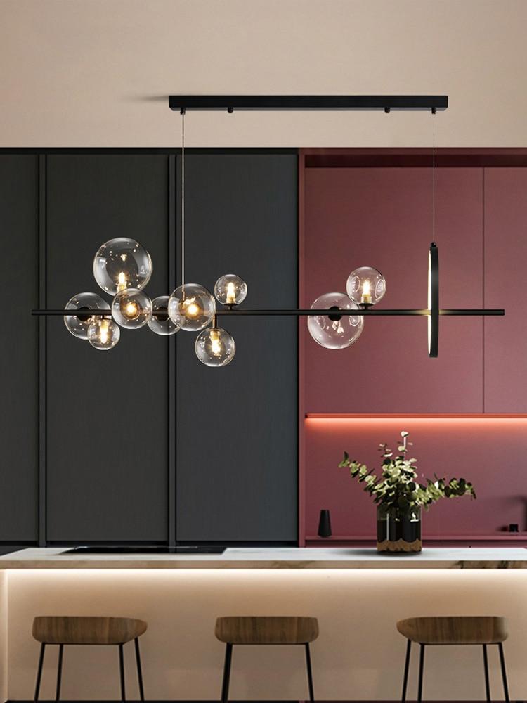 Black LED Chandelier Clear Glass ...