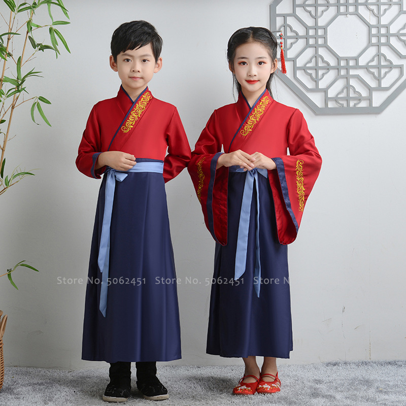 Kids Boys Tang Suit Traditional Chinese Hanfu Girls Embroidery Princess Dress Performance Dance Costumes Children Kimono Outfits
